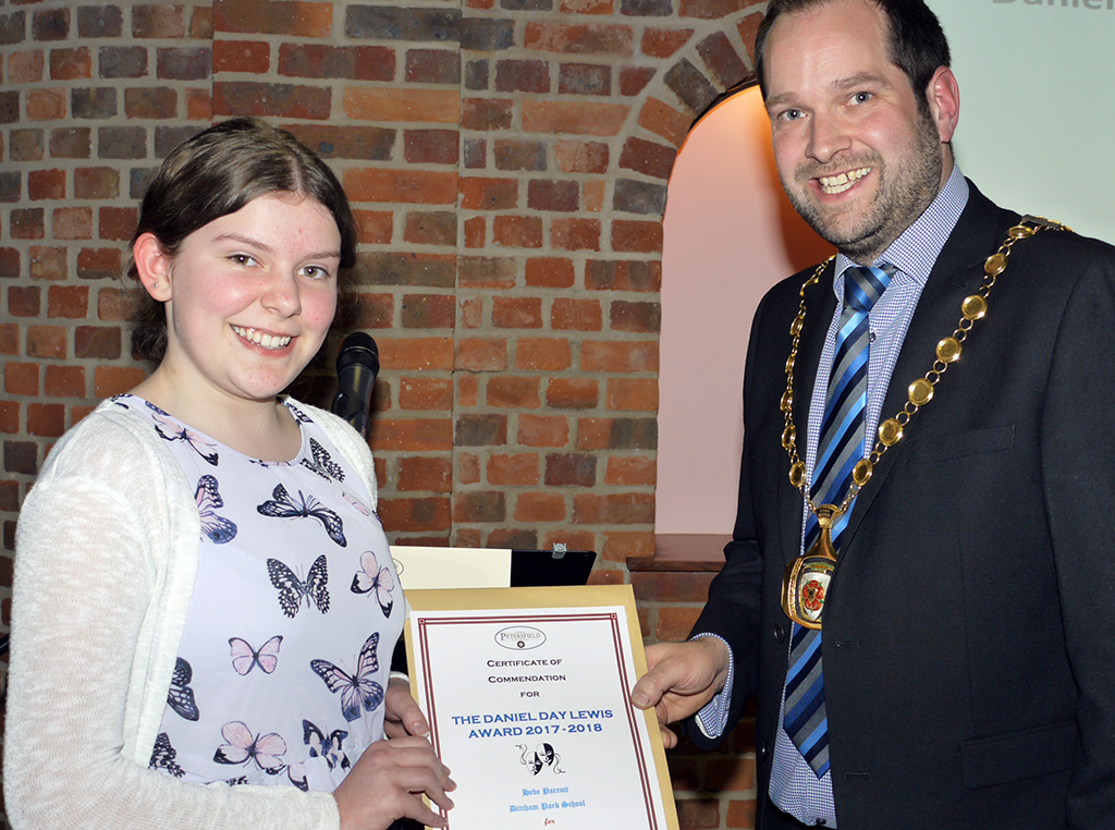 Hebe Parrott of Ditcham Park School receiving a Commendation Daniel Day Lewis Award 2017-18 for Theatre & Drama.