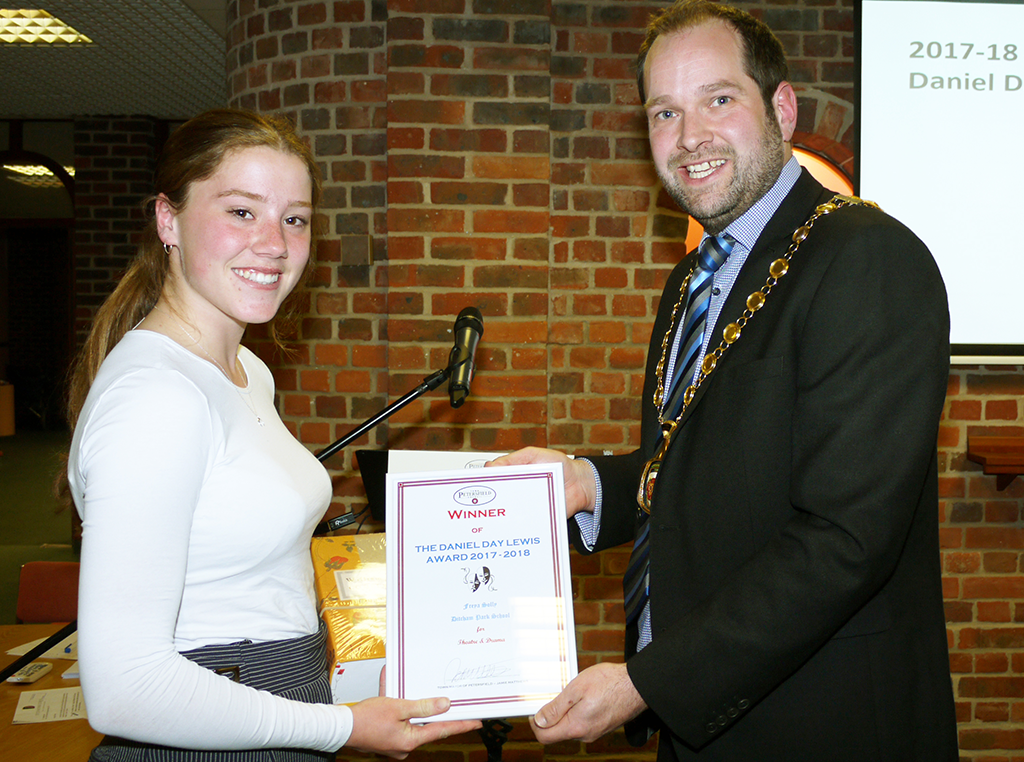 Freya Solly of Ditcham Park School who was the Winner of the 2017-18 Daniel Day Lewis Award.