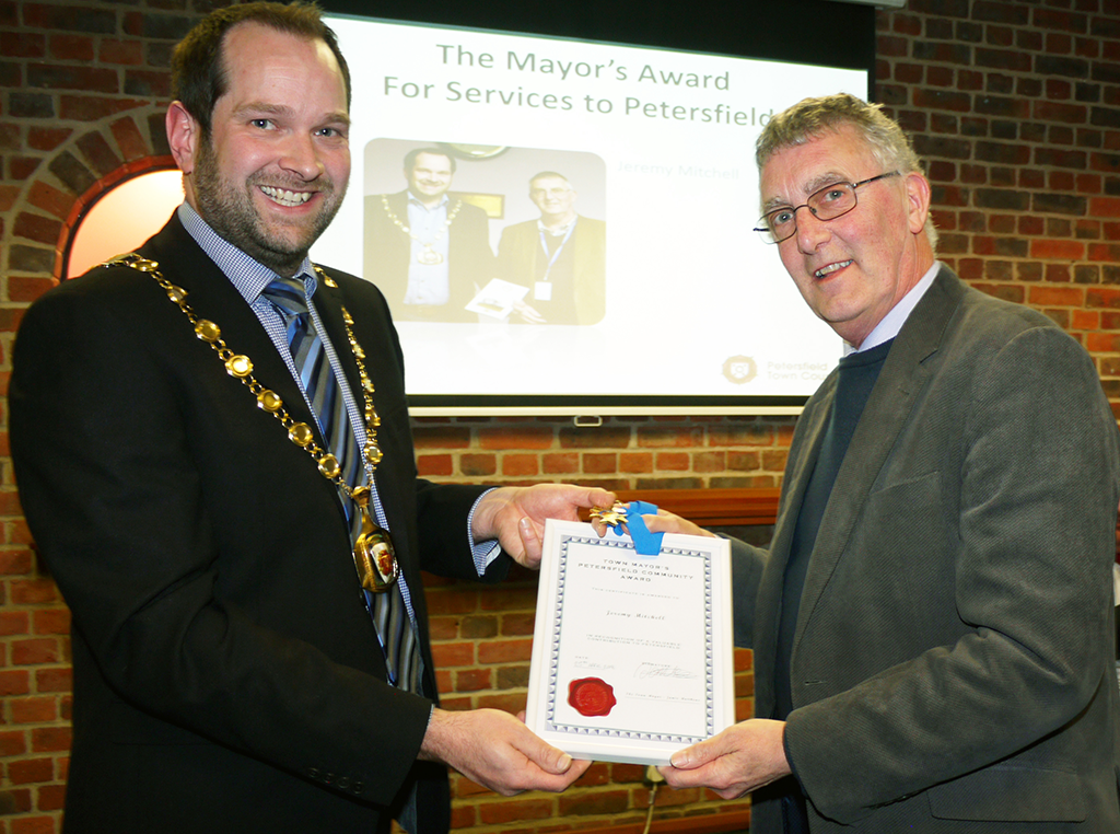 Jeremy Mitchell received The Mayor's award for Services to Petersfield.