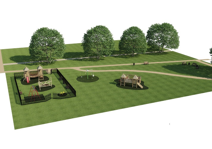 artists impression of the play area at woods meadow