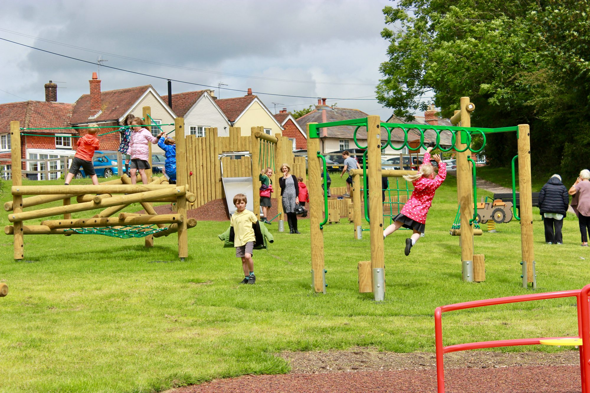 children playing on equipment at Borough Hill