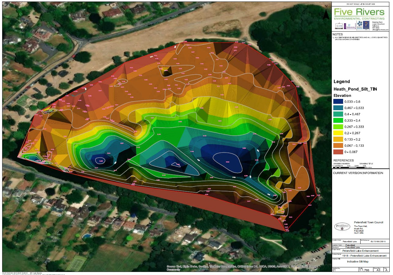 indicative silt map of the pond