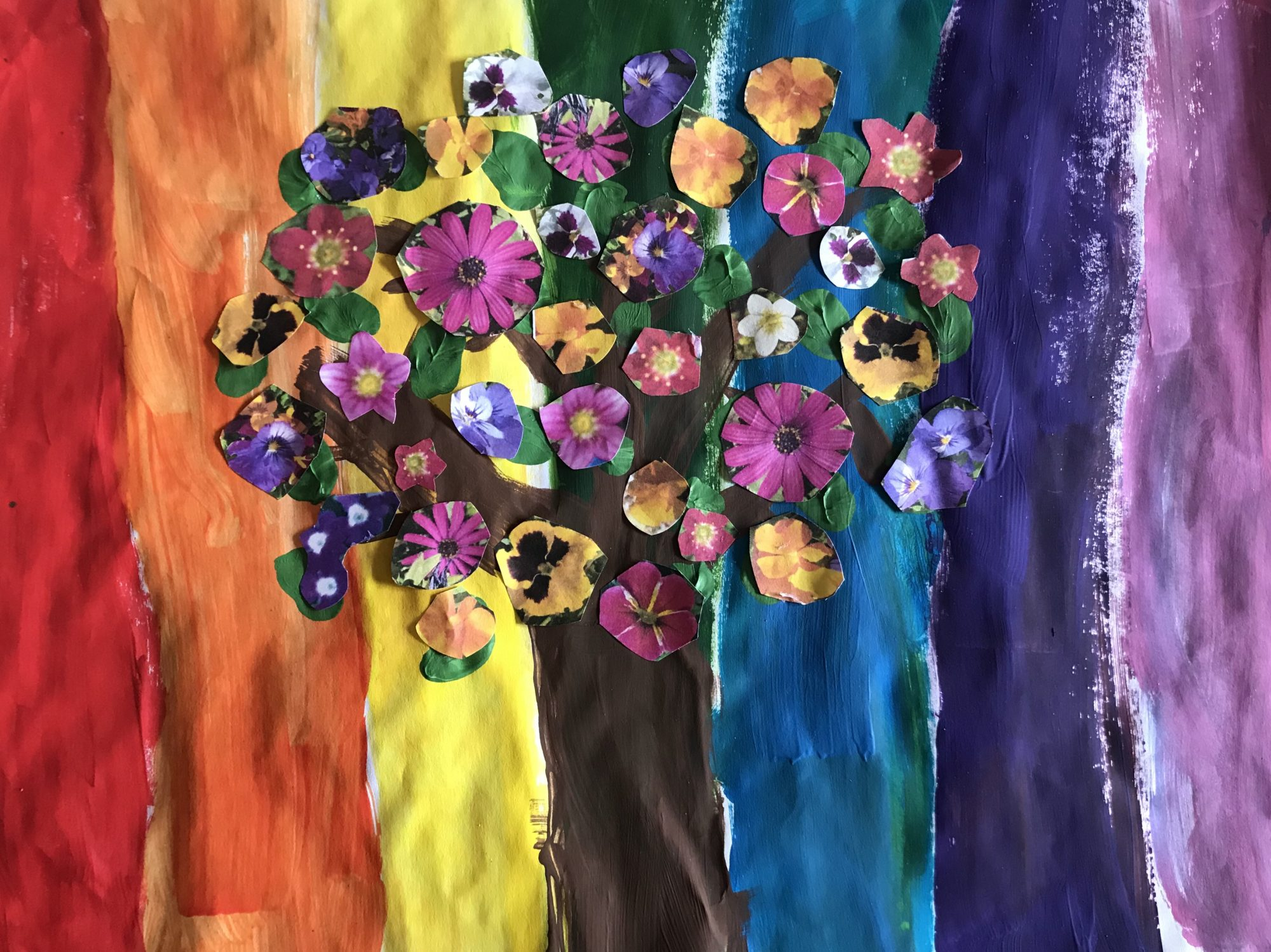 flowering tree on rainbow background