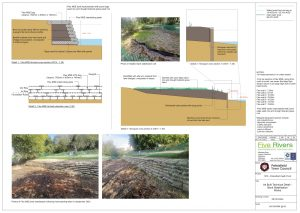 technical details with diagrams of the pond stabilisation works