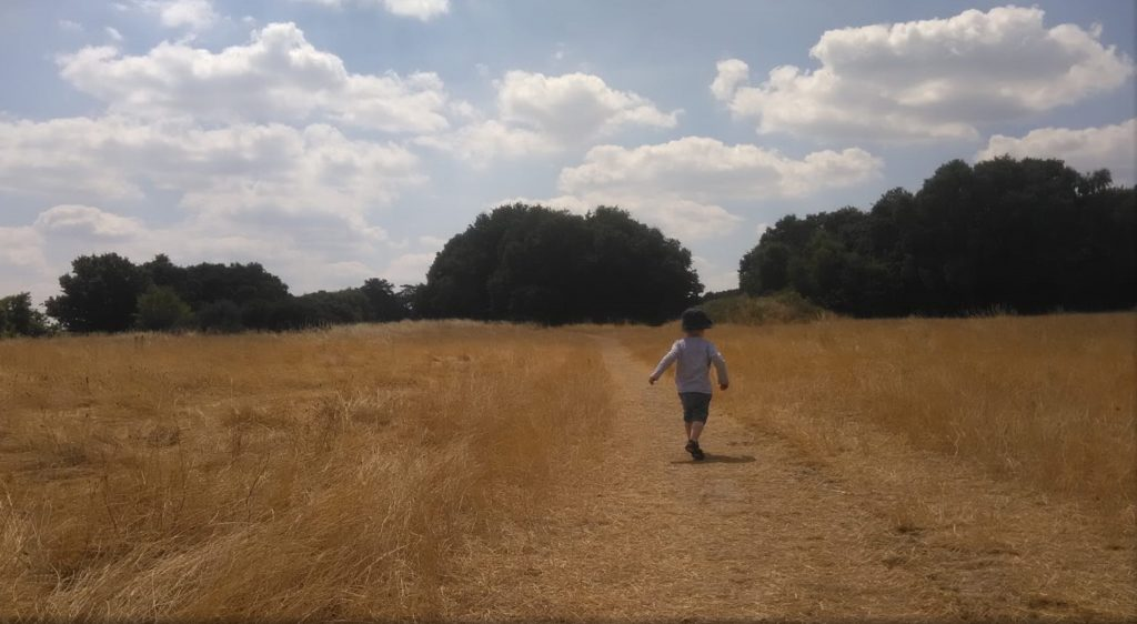 Child running across Petersfield Heath