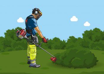 groundsman using pesticides